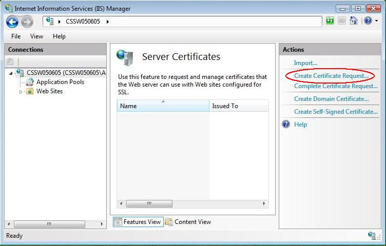 postive ssl csr on iis create ssl request-comprompt