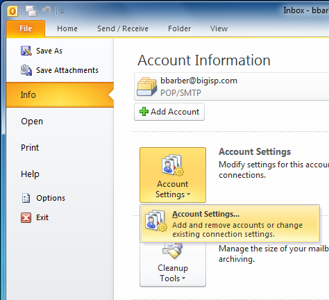 Account info- Microsoft Outlook 2010