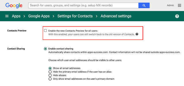 Enable Google Contacts Preview